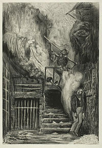 """La Rue de la Vieille Lanterne: The Suicide of Gérard de Nerval"""", by Gustave Doré, 1855"""